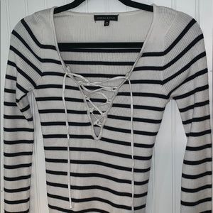 Kendall and Kylie striped lace up long sleeve